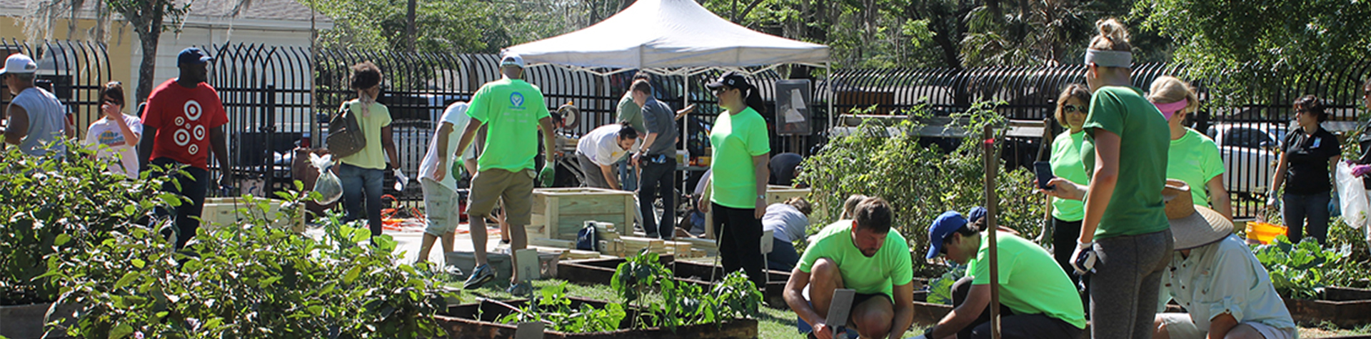 Volunteers working in the community garden at Harvest Hope Park in Tampa, Florida