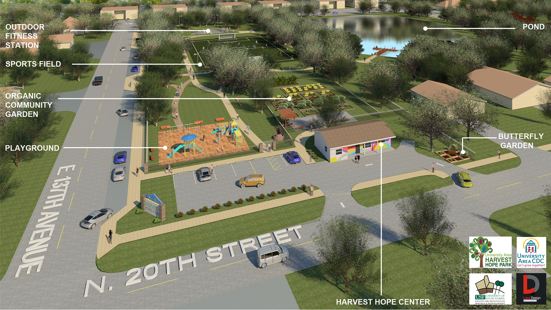 An artist's rendering of the University Area and Harvest Hope Park